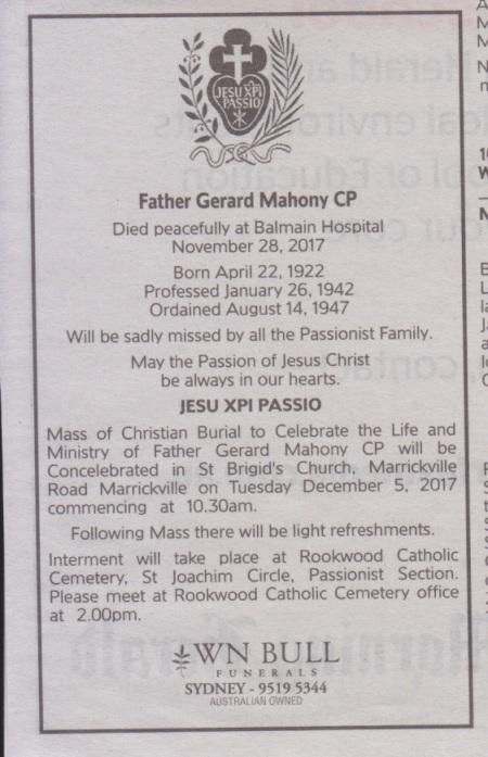 Fr. Gerard Mahony - Funeral Arrangements